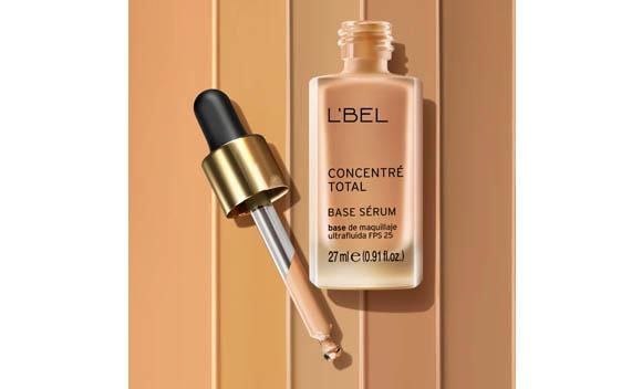 base de maquillaje serum lbel concentre, envase y aplicador o gotero, sobre bulk en varios tonos, l'bel